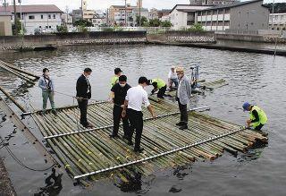 「竹いかだ」放置竹林活用 企業組合が浜名湖で試乗会