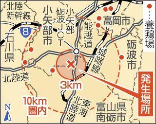 【富山】小矢部 鳥インフル確定 高病原性疑い 14万羽殺処分開始